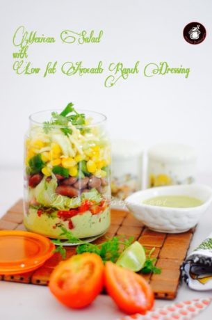 Mexican Salad in a Jar with a low fat Avocado Ranch Dressing