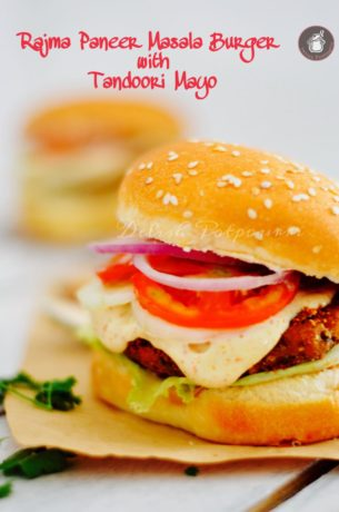 Spicy Kidney beans and Cottage Cheese Burgers / Rajma Paneer Masala Burgers with Tandoori Mayo