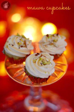 Mawa cupcakes with Kesar Pista Malai frosting …a Diwali Collab