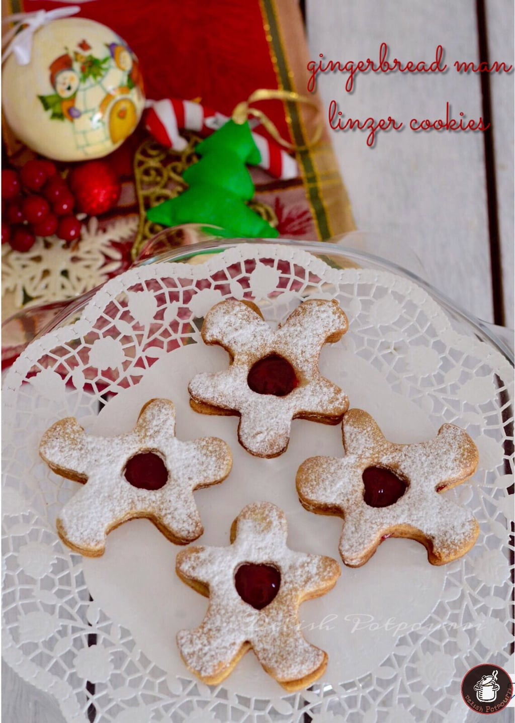 Gingerbread Man Linzer Cookies