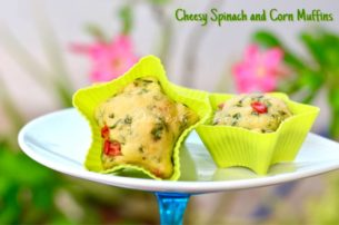 On the Go Cheesy Spinach and Corn Muffins with Olive oil